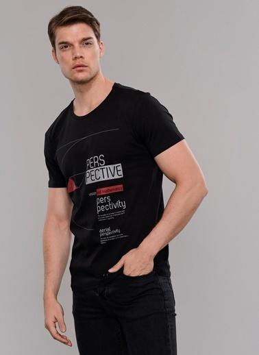 People By Fabrika Baskılı Tişört Siyah